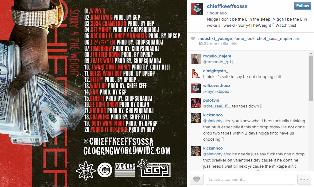 "Daily Chiefers | Chief Keef Posts Tracklist for ""Sorry For ..."